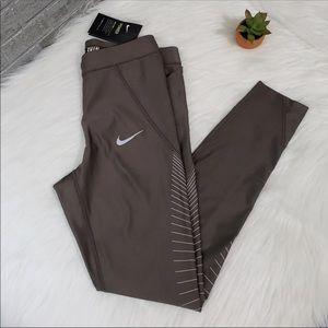 $80 New Nike Speed Tight Fit  Brown Legging Sz M